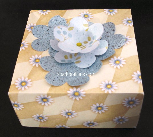 box...square...flower punch topper...blue tan prints