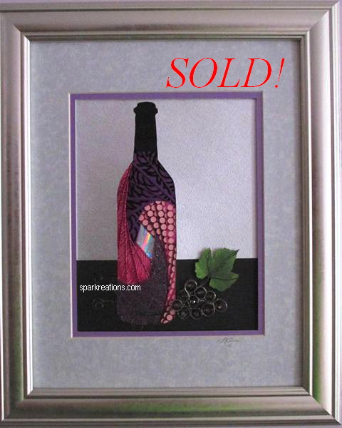 iris fold...wine bottle & grapes (framed)