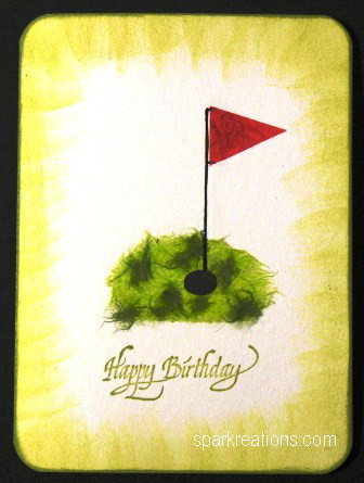 card...mulberry paper...golf hole & flag