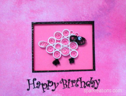 card...quilled...sheep