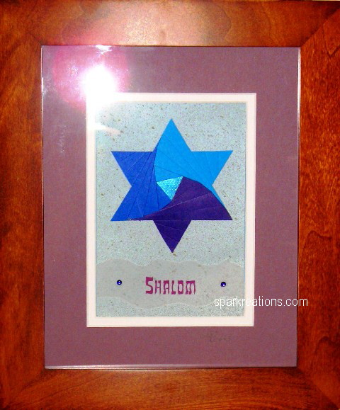 iris fold...Star of David...framed...2