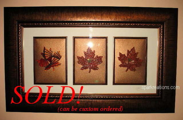 iris fold...maple leaf with ribbon...framed trio...2...SOLD banner