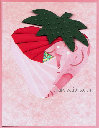 iris fold...strawberry...card