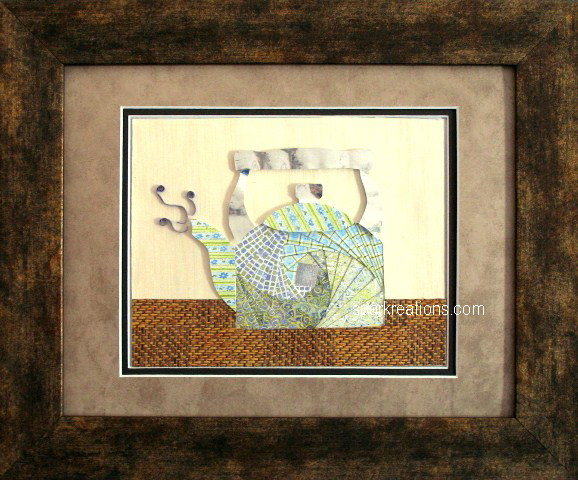 iris fold...tea kettle...framed